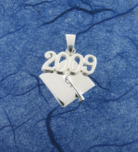 Class of 2009 Graduation Cap Charm or Pendant in Solid Sterling Silver 2103
