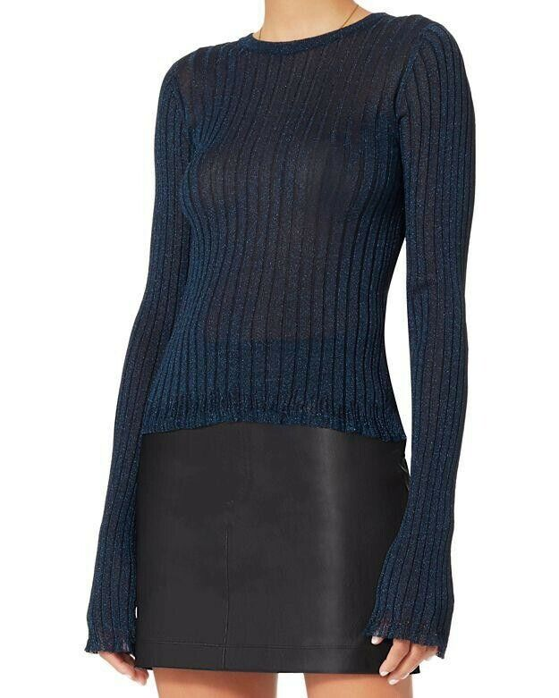 New Women's HELMUT LANG bluee Metallic Casey Casey Casey Ribbed Top Sweater size L 9dc776