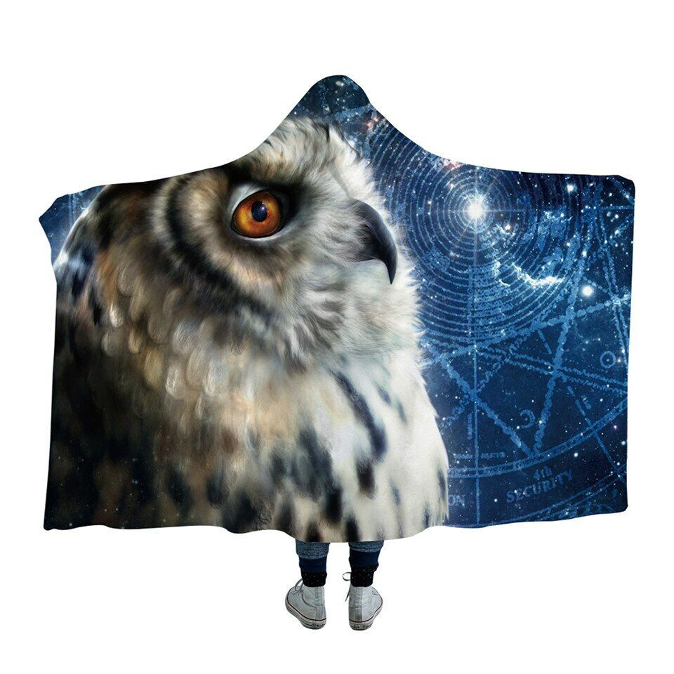 Time Traveler Owl 3D KhaliaArt Kids Adult Sherpa Fleece Fur Hooded Blanket Throw