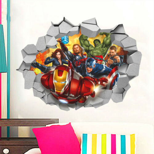 3D Marvel/'s Avengers Movie Through Wall Stickers For Kids Room Wall Decals