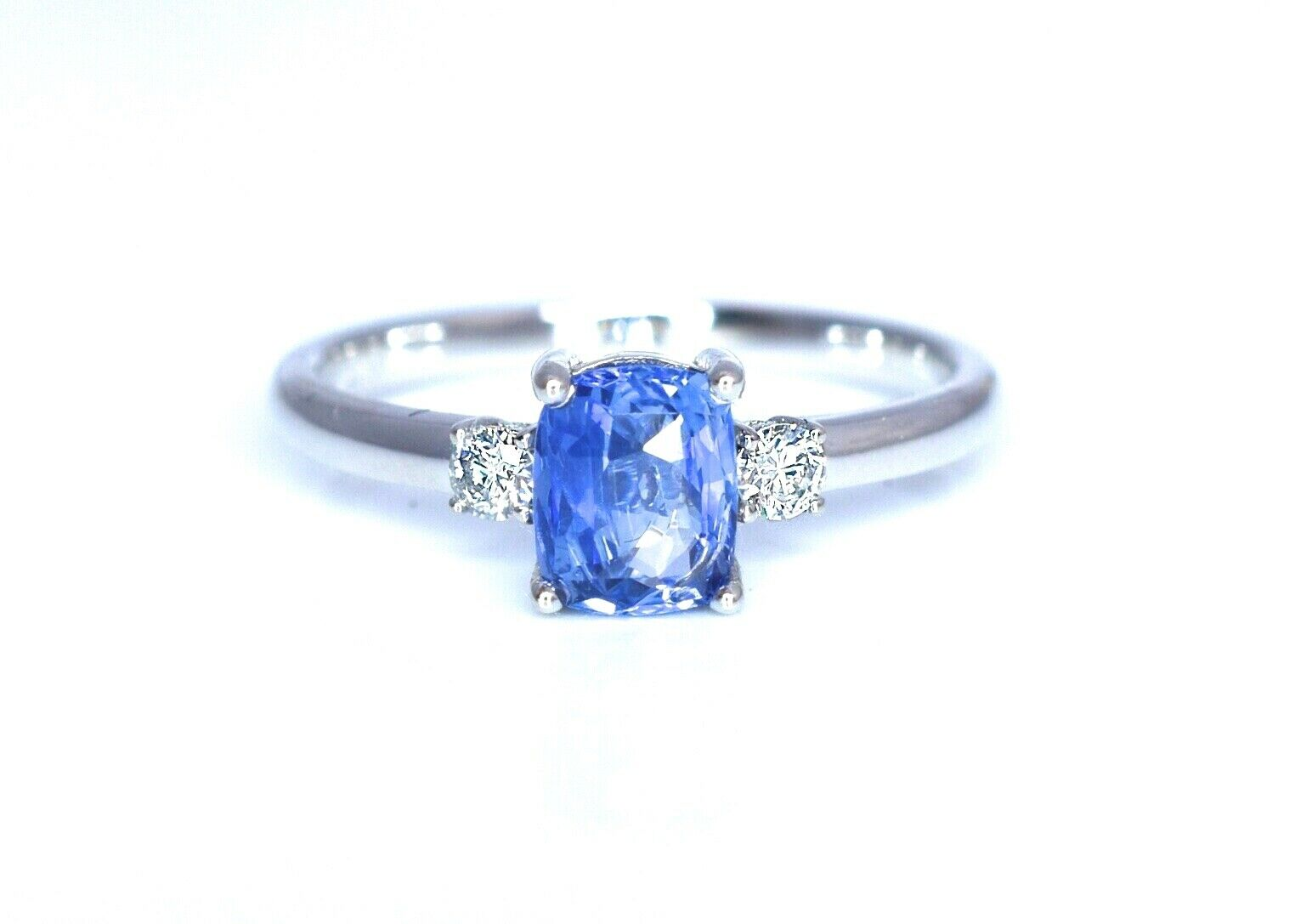 Natural bluee Sapphire Diamond Ring 1.29 ct Certified 14K White gold size 7