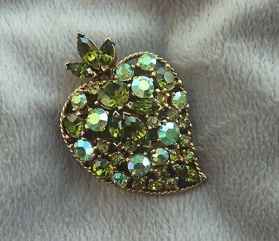 Vintage High End Green Ab Rhinestone Leaf Brooch