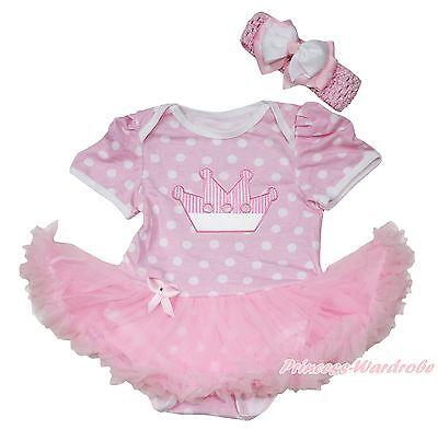 Infant Baby White Jumpsuit White Birthday Cake /& Hot Pink White Dot Dress NB-12M