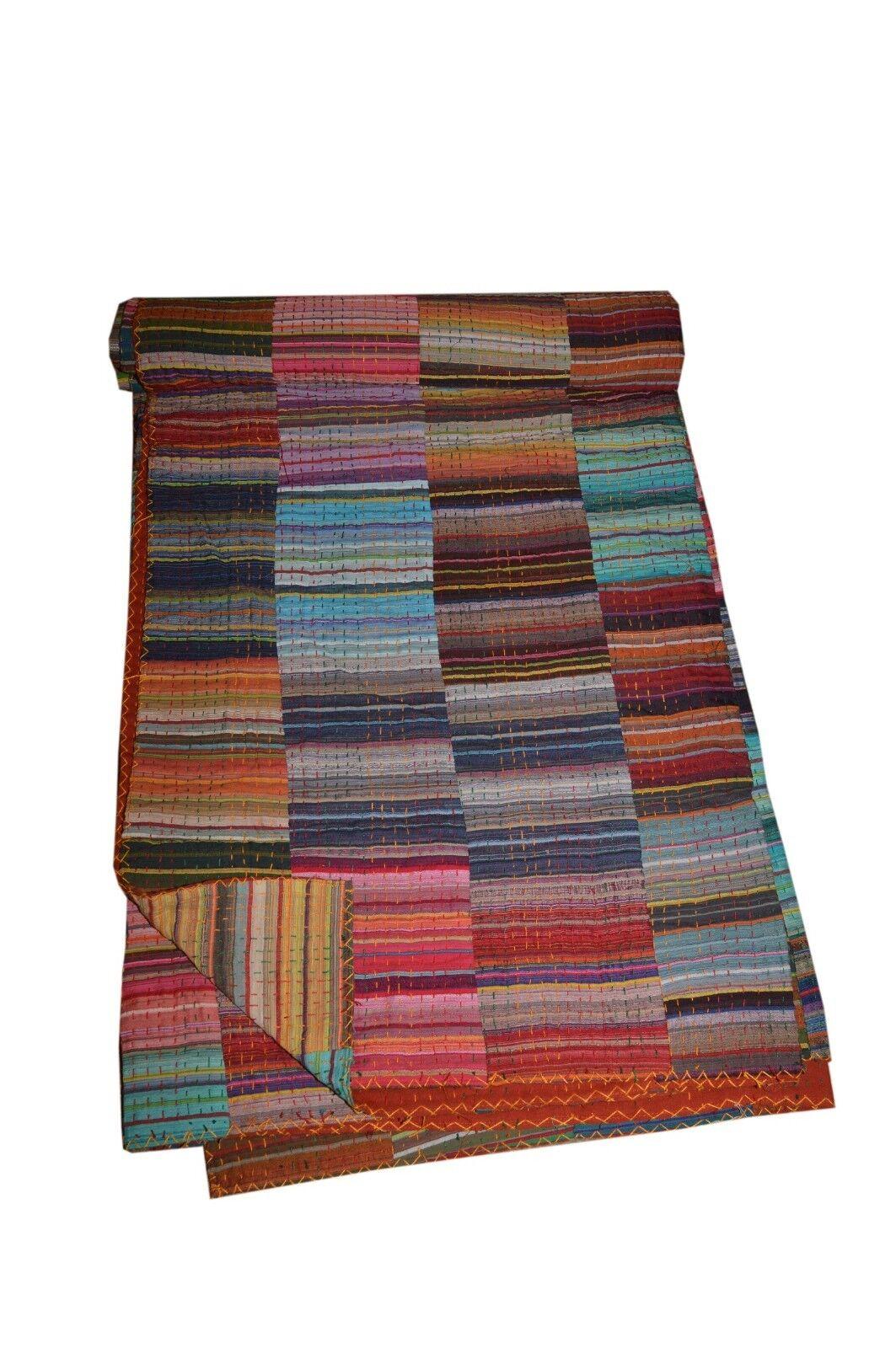 Kantha Multi Stripe Patch Handmade Bedspread Throw Cotton Gudari Ethnic Blanket