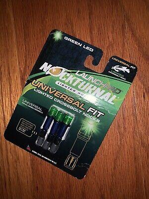 Launchpad Nockturnal Lighted Crossbolt Nocks Green LED Universal Fit NT-775-3W