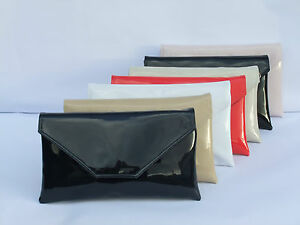 Stylish Large Envelope Patent Clutch Bag Shoulder Bag Wedding Party ... 6c9f84ee9dd47