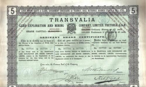Transvaal South Africa 1892 Transvalia Land Exploration Mining £5 Uncancelled