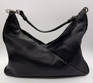 Image Is Loading Donald J Pliner Black Leather White Sching Silver
