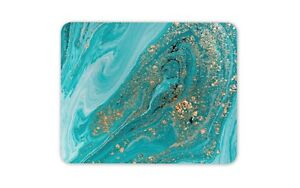 Turquoise Gold Glitter Geode Mouse Mat Pad - Beautiful Rock Computer Gift #15196