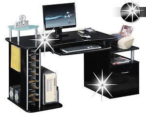 Sixbros bureau informatique meubles de bureau très brillant noir