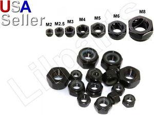 Carbon-Steel-Black-Zinc-Hex-Locking-Lock-Nuts-Metric-M2-M2-5-M3-M4-M5-M6-M8