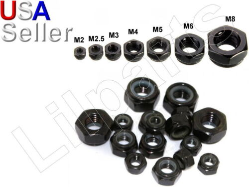 Carbon Steel Black Zinc Hex Locking Lock Nuts Metric M2 M2.5 M3 M4 M5 M6 M8