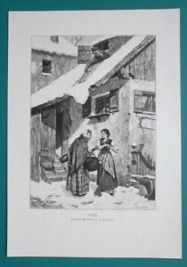 WINTER-REVENGE-Women-Gossip-Roof-Snow-Avalanche-VICTORIAN-Era-Engraving-Print