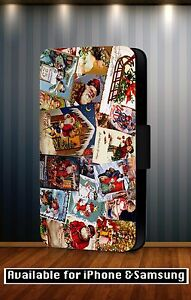 Christmas-Xmas-Santa-Snowman-Disney-Faux-Leather-Flip-Phone-Case-Cover-Y109