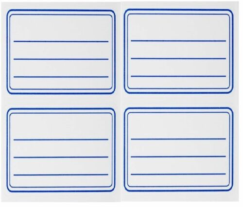 40 PCS OF WHITE SELF ADHESIVE LABELS BLUE LINES NOTEBOOK STICKERS 5.55 X 3.55cm