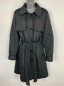 WOMENS-HOBBS-BLACK-LONG-DIAMOND-QUILT-CASUAL-WINTER-RAIN-JACKET-COAT-SIZE-UK-12