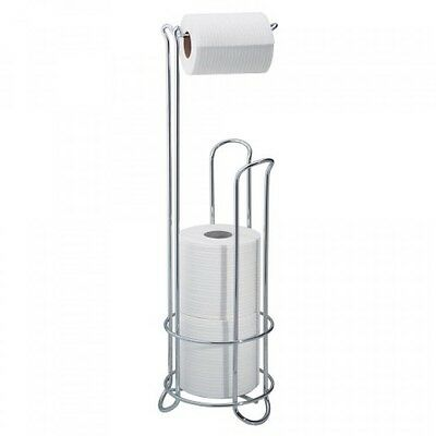 InterDesign Classico Roll Stand Plus, Chrome, Free Standing Toilet Paper Holder