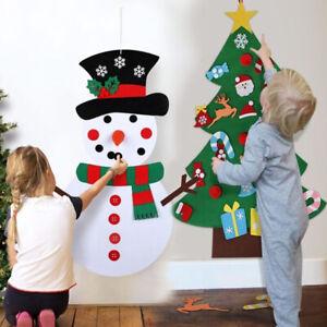 UK Large Kids DIY Felt Christmas Tree Ornaments Xmas Gifts Wall Hanging Decor