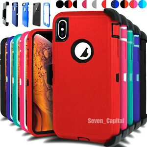 For iPhone XR XS MAX Shockproof Protective Rugged Case Cover With Belt Clip