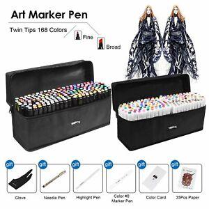 Rotulador de 80//168 Colores Marker Pen Marcadores Dibujo Pintura con 6 Regalo
