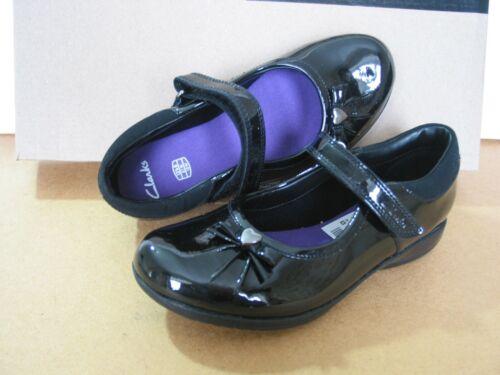 NEW CLARKS DAISY GLEM LITTLE Girls BLACK Leather SCHOOL SHOES SIZE 12.5 G /&11.5E