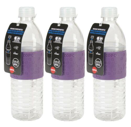Copco Hydra Sports Water Bottle BPA Free Plastic Reusable 16.9 Oz 3 Pack Purple