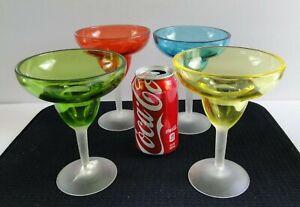 Durable-Plastics-6-5-034-Margarita-Glasses-Yellow-Blue-Green-Red-SOUTHWESTERN-DECOR