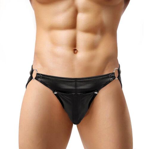 US# Mens Patent Leather Underwear Boxer Briefs Shorts Thong Underpants Panties