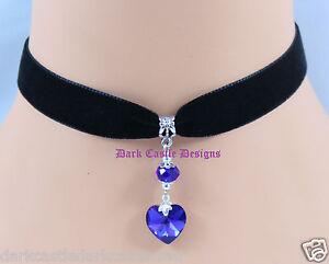 Black Velvet Blue Green Heart Pendant Choker Necklace Fashion Jewellery UK