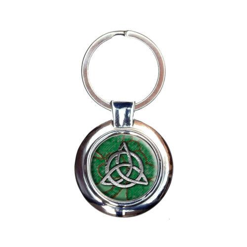 Celtic Trinity Circle Green Clovers Keychain Key Ring