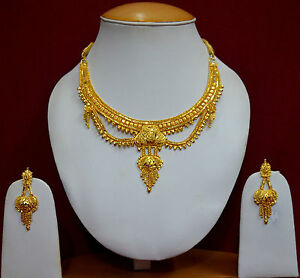 Gold-Plated-Unique-Design-Indian-Bridal-Necklace-Earrings-Jewellery-Sets-f37n30