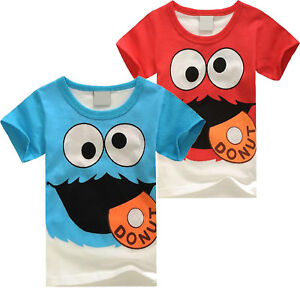 Kids-Boys-Girl-Elmo-T-Shirt-Round-Neck-Summer-Short-Sleeve-Casual-Tee-Shirt-Tops