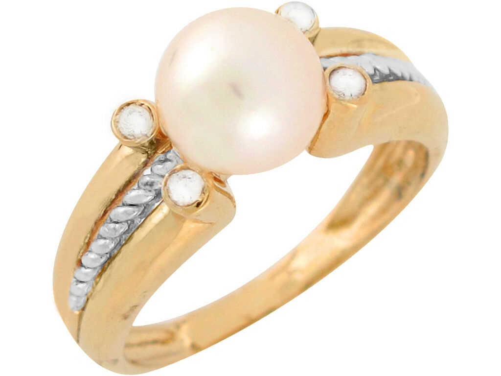 10k or 14k Two Tone gold Freshwater Cultured Pearl White CZ Classic Ladies Ring