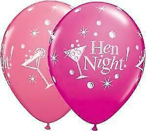 "Hen night bubbly wild berry rose qualatex 11/"" latex ballons x 6"