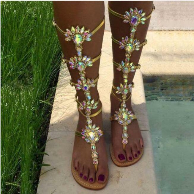 Plus Size Women's Women's Women's Bohemia Flat Knee High Gladiator Rhinestones sandals 3 color 36c003