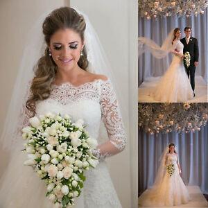White-Ivory-Mermaid-Wedding-Dress-Lace-Bridal-Gowns-Custom-size-2-4-6-8-10-12-14