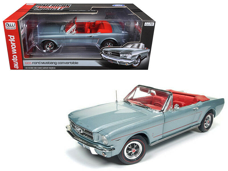 Autoworld 1:18 1965 Ford Mustang Convertible Gris Diecast Model Car grigio AMM1103