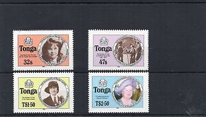 1985 TONGA QEII Mother 85th LIFE TIMES Stamps Set 4v Type B SG915b-918b REF:X450