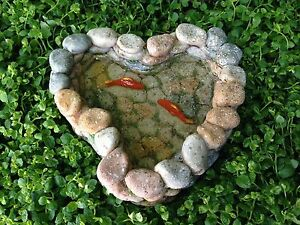 Miniature-Dollhouse-FAIRY-GARDEN-Accessories-Stone-Look-Koi-Pond-NEW
