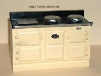 Cream Aga Stove, Doll House Miniature, Kitchen Furniture, Oven Cooker