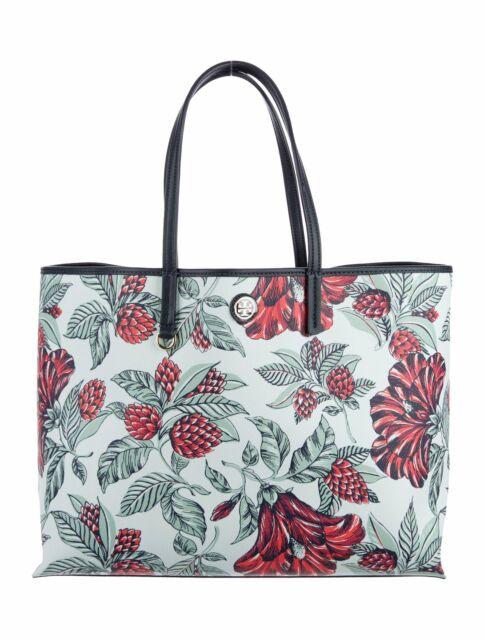 3dc242fc238 Tory Burch Large Coated Canvas Cameron Tote Bag Green Acre Floral No.37046
