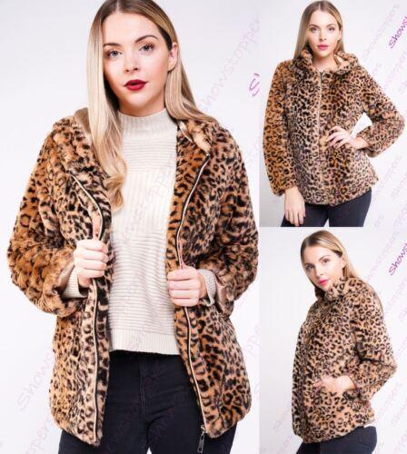 Da Donna in Finta Pelliccia Lussuosa Leopardo Cappuccio Giacca Taglia 8 10 12 14