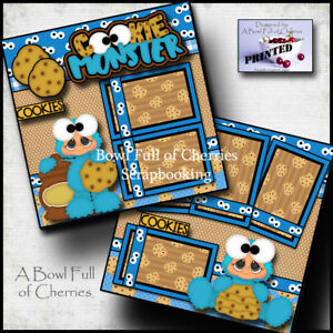 cookie monster 2 premade scrapbook pages printed paper piecing