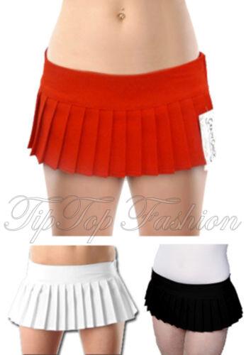 "New Girls//Ladies Plain Micro Mini Short Skirt 7/"" Pleated Red Black White Skirts"