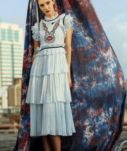 Occident Womens layer Short Sleeve Runway Fashion Long Party Sequins Dress Blue