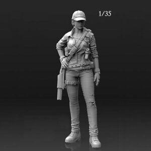 1//35 Resin Figure Kit Model Female Resin Soldier Colorless Unassembled Unpainted