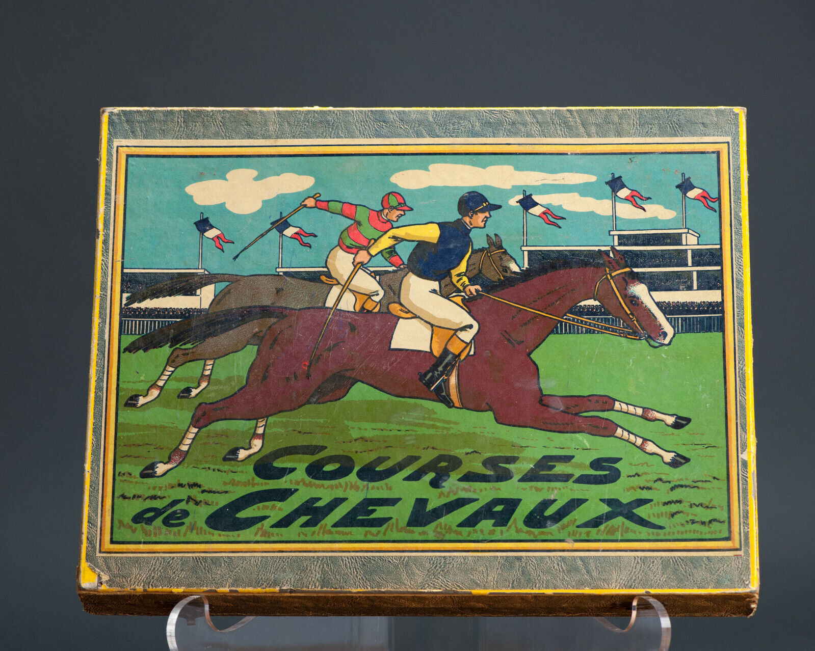 Antique ToyBoxed & & & Courses de Chevaux Horse Racing Game. Rare and Perfect e823ef
