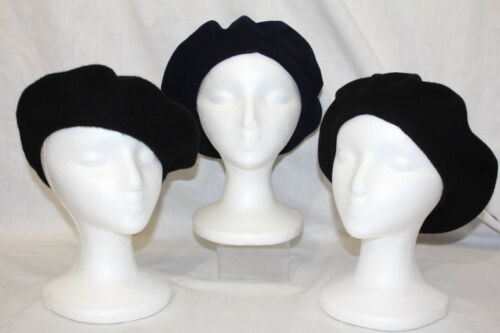 "Lot Of 3 ""Classic"" Fashion Wool Beret Hats, Black"
