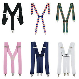 Caballeros-Para-Hombre-35-Mm-De-Ancho-Llaves-Ajustables-Cargaderas-elastico-Colores-Lisos-Clasico