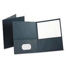 New Dark Blue Oxford 2 Pocket Portfolio Folder With Card Holder 100 Page 25box